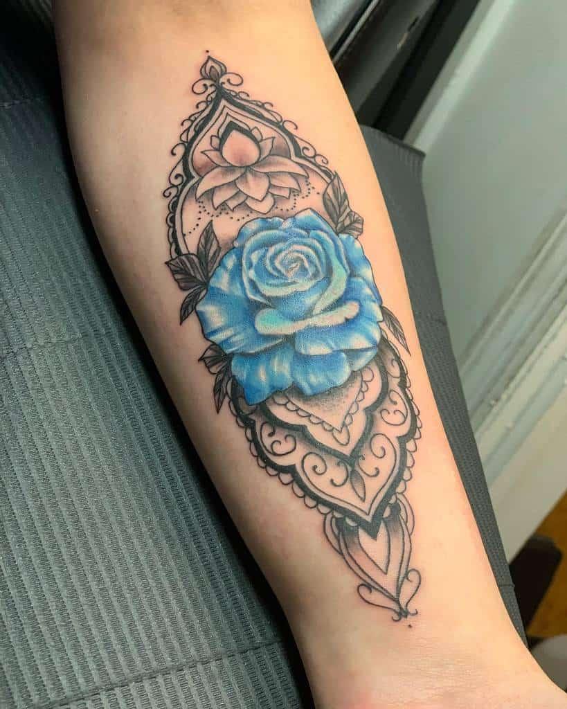 forearm blue rose tattoos robbietattoos