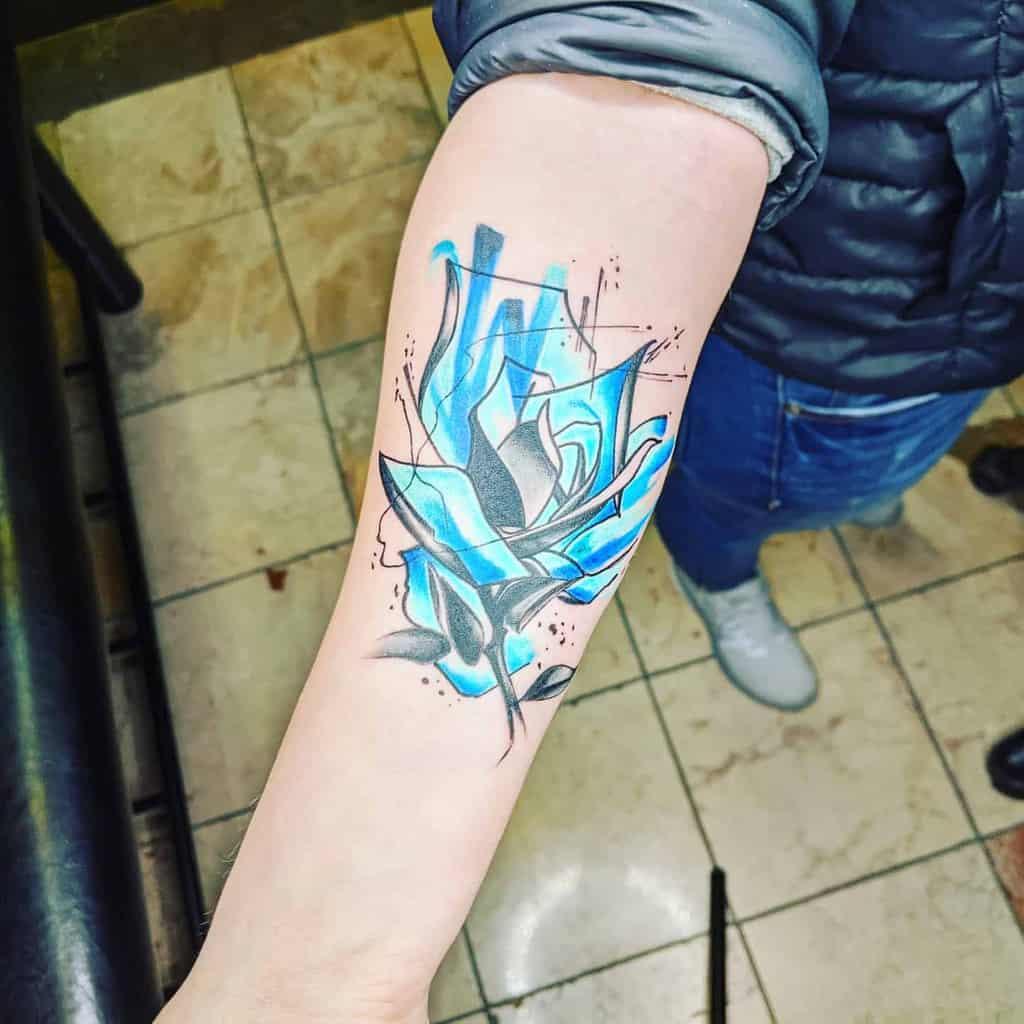 forearm blue rose tattoos theartofsharpe