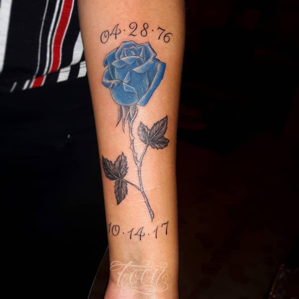 forearm blue rose tattoos toon_tattoo