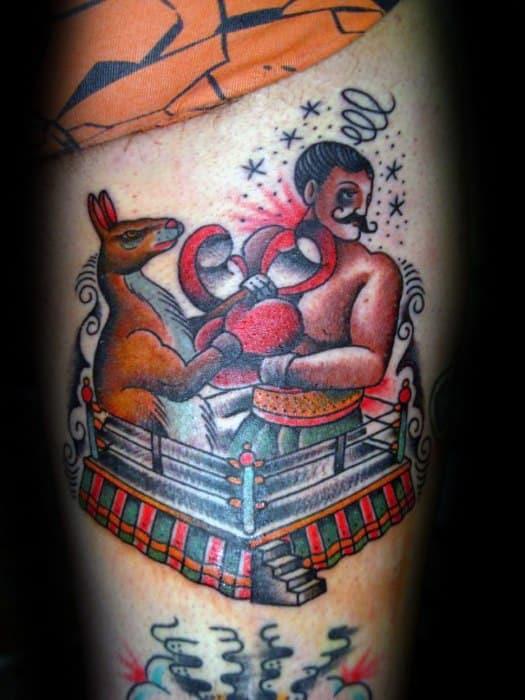 Forearm Boxing Ring Kangaroo Mens Tattoo Ideas