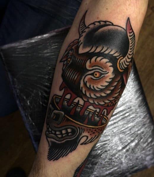 Forearm Bull Head Tattoos For Men
