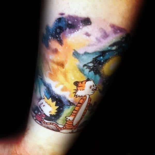Forearm Calvin And Hobbes Outer Space Male Tattoos