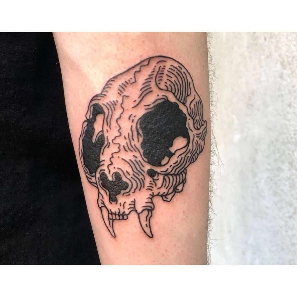 forearm cat skull tattoo _mosiejczuk_