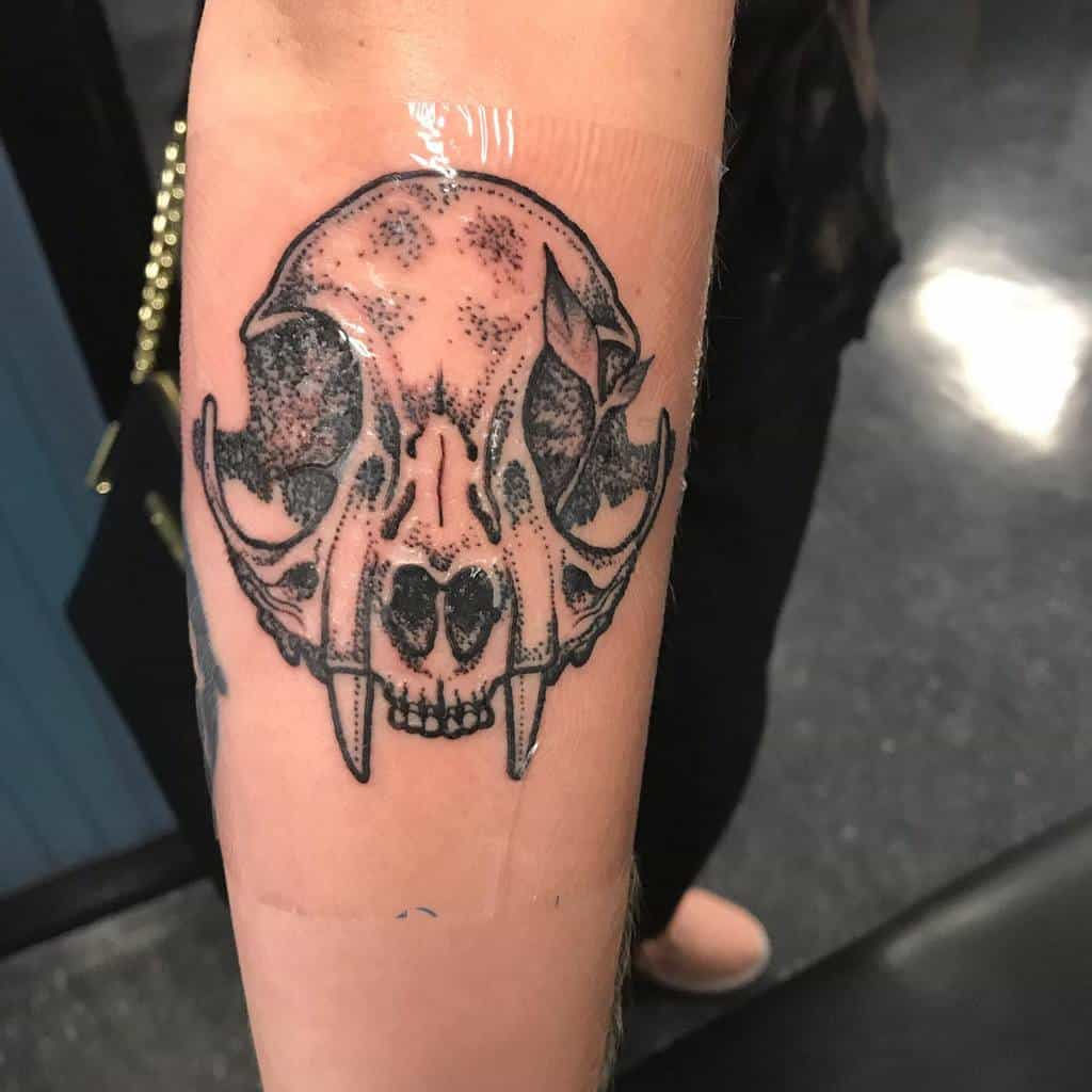 forearm cat skull tattoo nicolausrummel