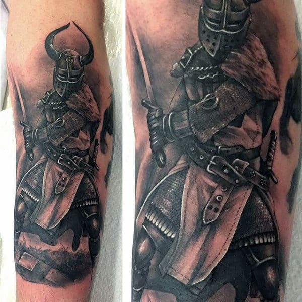Forearm Chivalry Knight Tattoo Themes For Men