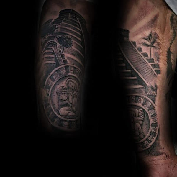 Forearm Circle Mayan Symbol With Pyramid Mens Tattoo