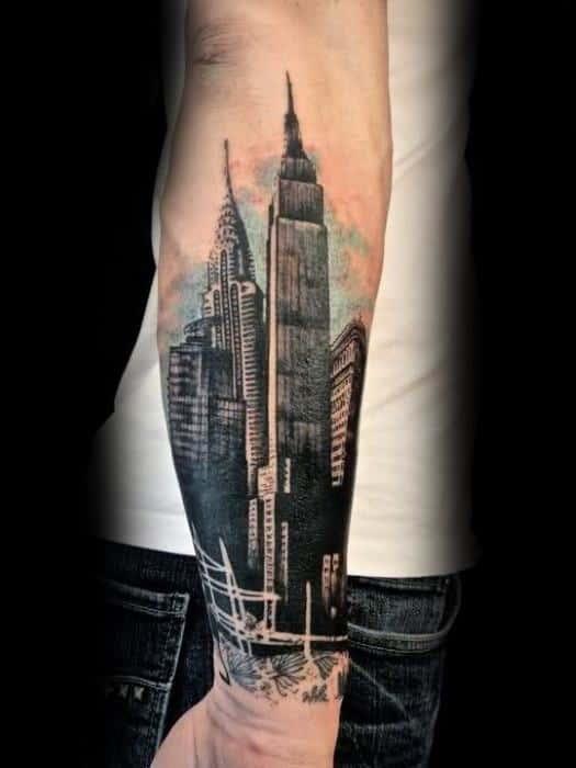 Forearm City Of Los Angeles Skyline Mens Tattoo Designs