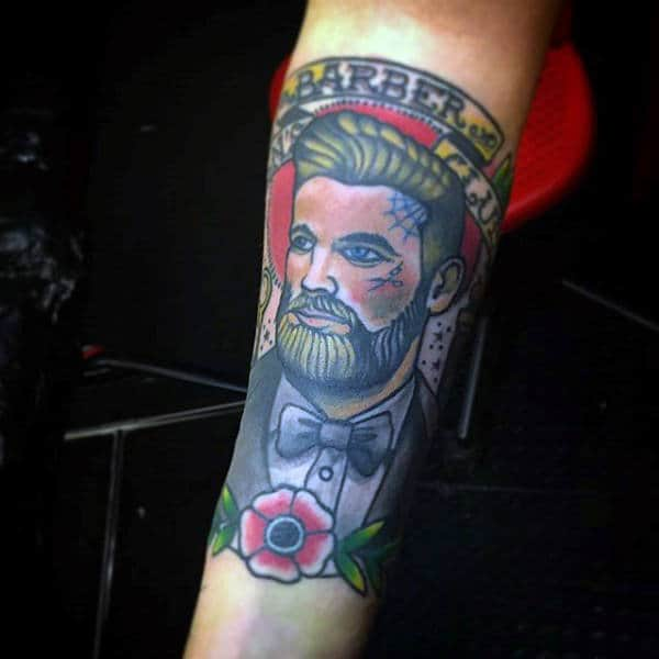 Forearm Color Barber Tattoo On Man