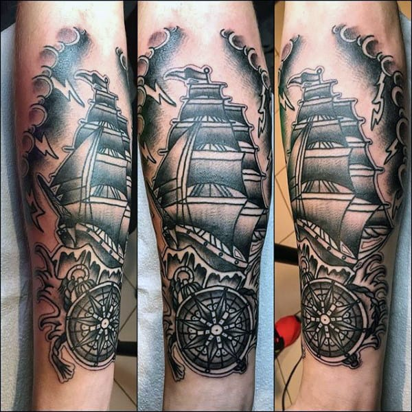 Forearm Compass And Sailing Ship Mens Traditional Tattoo Designs