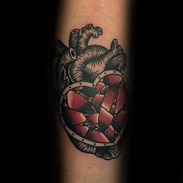 Forearm Cool Male Broken Heart Tattoo Designs