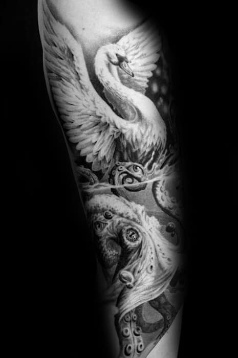 Forearm Cool Swan Tattoo Design Ideas For Male