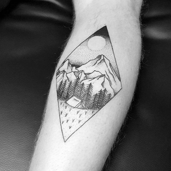 Forearm Creative Camping Tattoos For Men