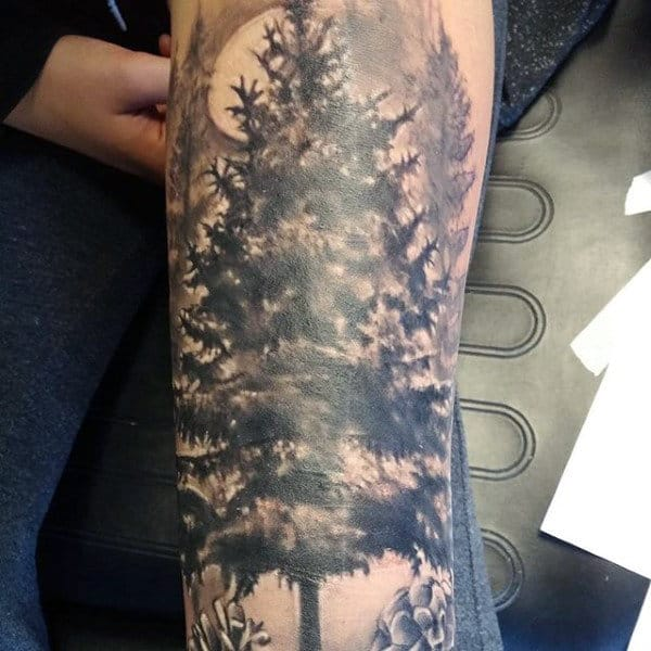 Forearm Creative Men's Pine Tree Tattoo In Black Ink
