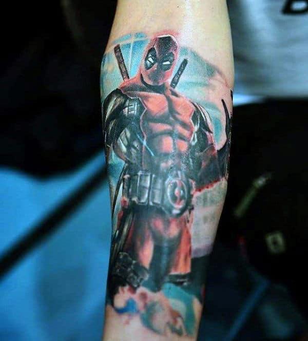 Forearm Deadpool Themed Male Tattoo Ideas