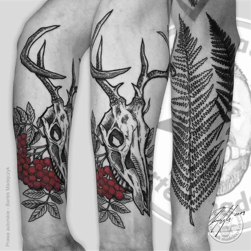 forearm deer skull tattoo bartek_madejczyk_tattoo