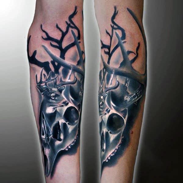 Forearm Deer Skull Tattoo Designs For Guys