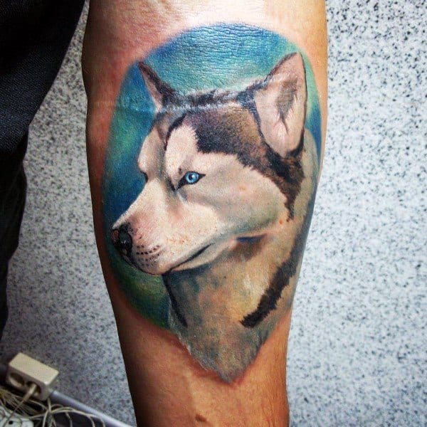 Forearm Detailed Portrait Of Dog Husky Tattoos For Men