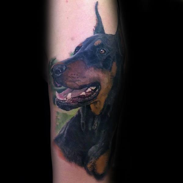 Forearm Doberman Tattoo On Men