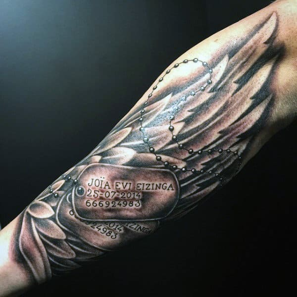 Forearm Dog Tags Tattoos For Men With Angel Wings