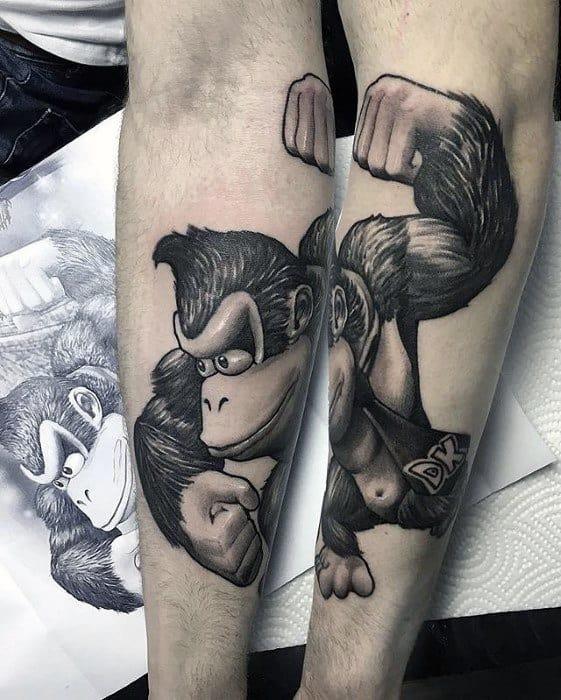 Forearm Donkey Kong 3d Gamer Mens Tattoo Designs