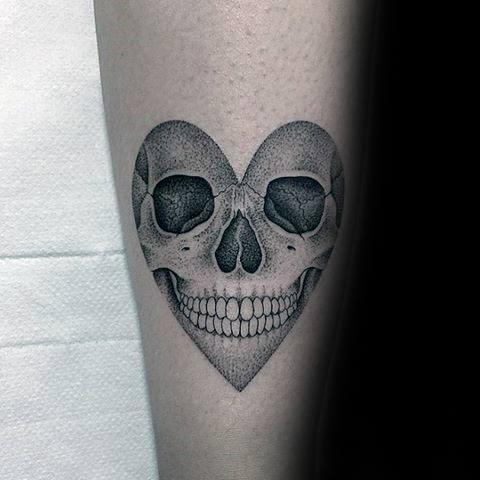 Forearm Dotwork Heart Skull Guys Small Tattoo Designs