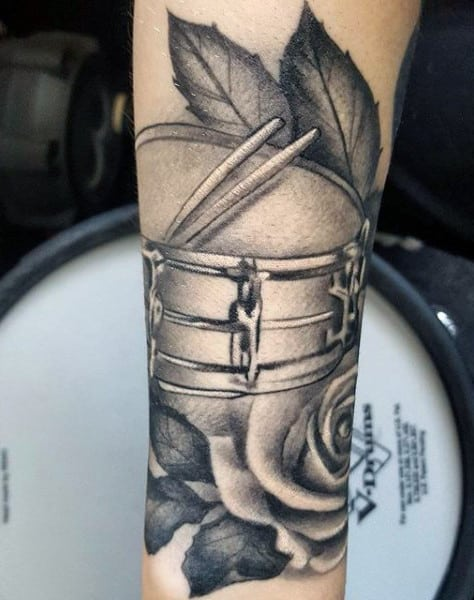 Forearm Drums With Rose Flower Guys Tattoo