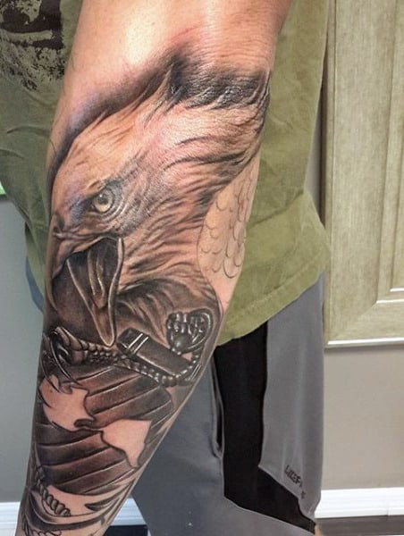 Forearm Eagle Men's Tattoo Design