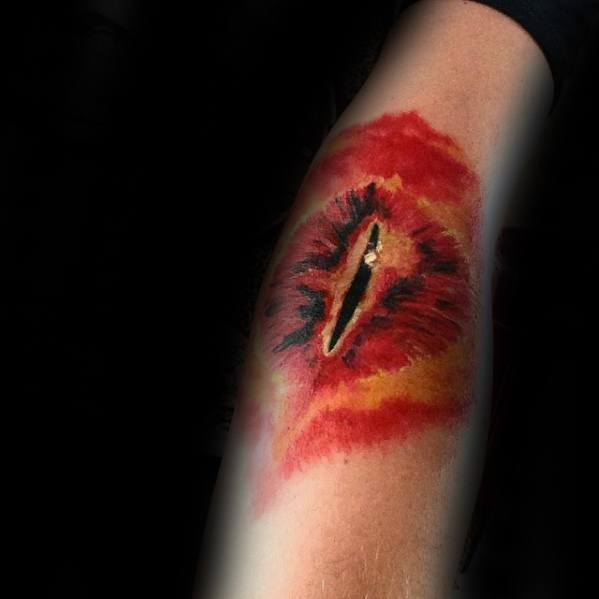 Forearm Eye Of Sauron Tattoos For Gentlemen