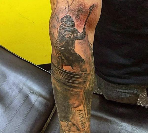 Forearm Firefighter Memorial Tattoo For Guys