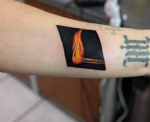 Forearm Flame Match Tattoos For Men