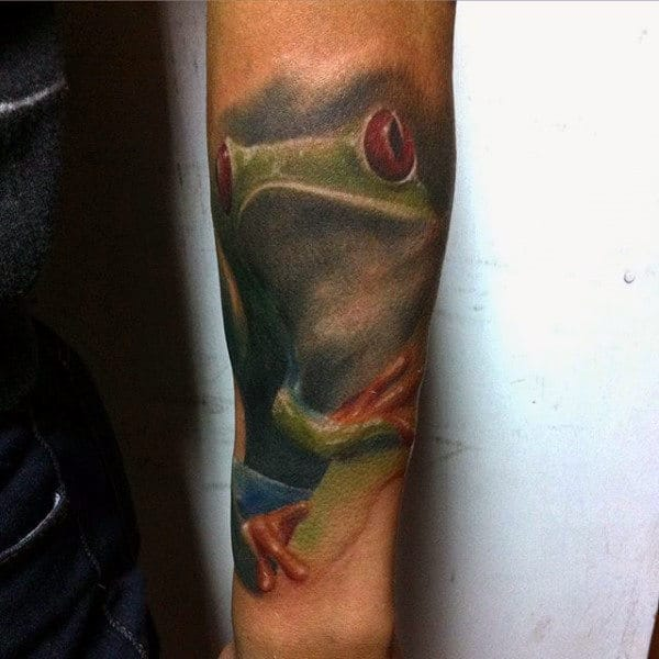 Forearm Frog Tattoo On Gentleman