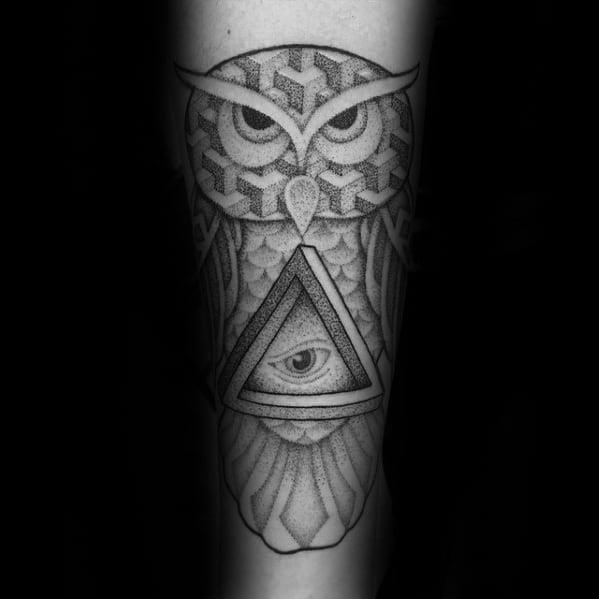 Forearm Geometric Owl Penrose Triangle Tattoo Designs For Guys
