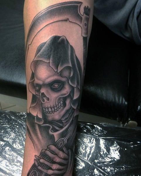 Forearm Grim Reaper Angel Tattoo For Men