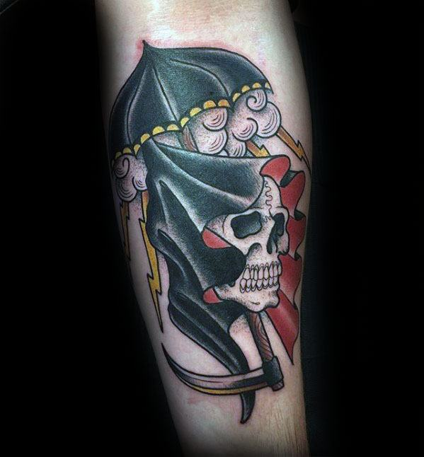 Forearm Grim Reaper Umbrella Tattoo Design Ideas For Males