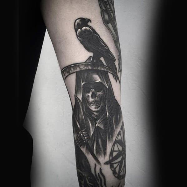 Forearm Grim Reaper With Crow Tattoo For Men