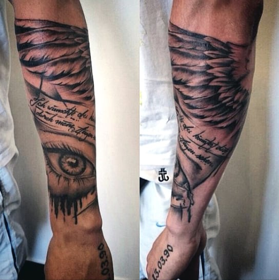 Forearm Guys Devil Wings Tattoo