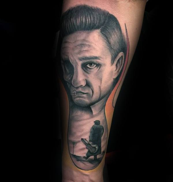 Forearm Guys Johnny Cash Tattoos