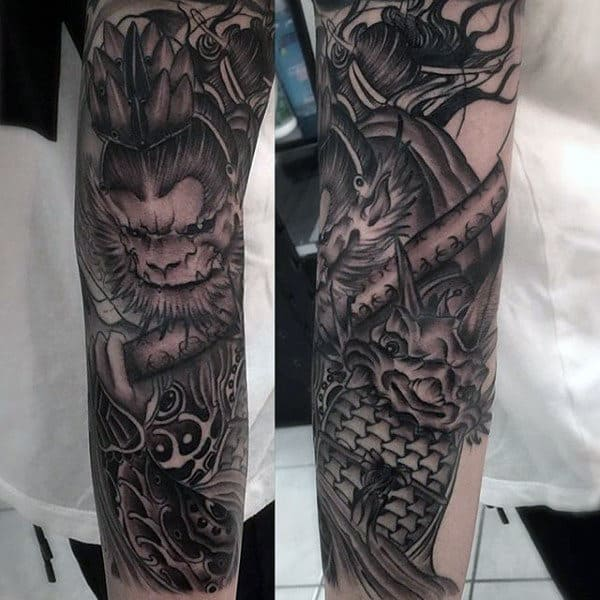 Forearm Guys Monkey King Sleeve Tattoos