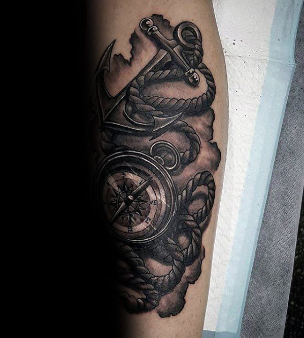 Forearm Guys Rope With Compass And Anchor Unique Tattoos