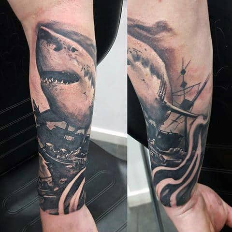 Forearm Guys Shipwreck With Shark Tattoos