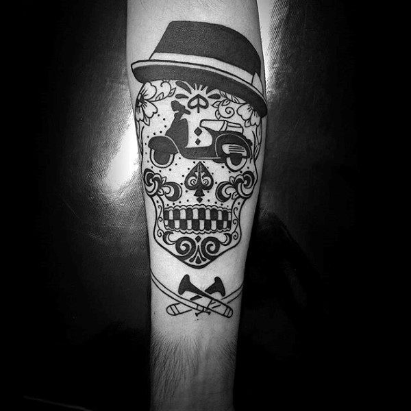 Forearm Guys Tattoo Top Hat Sugar Skull Designs