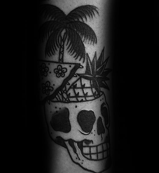 Forearm Guys Tattoos With Skull Pineapple Old Schol Traditional Design