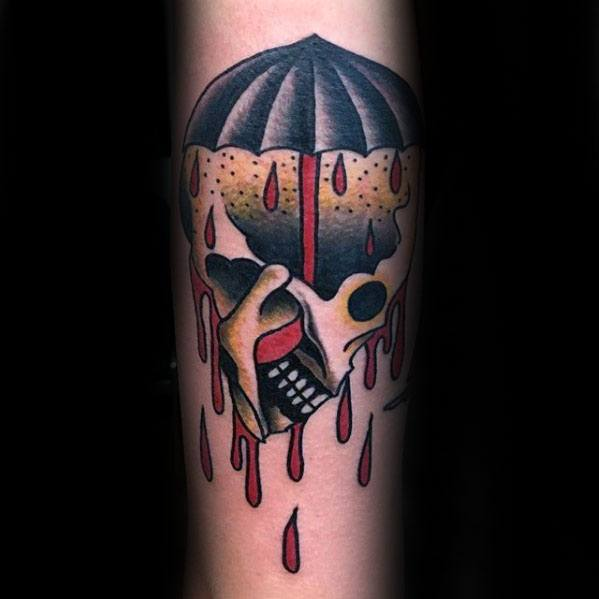 Forearm Guys Traditional Skull Umbrella Tattoos