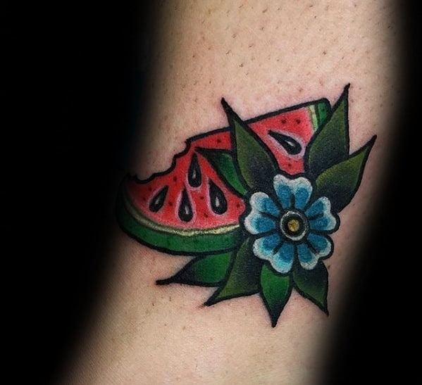 Forearm Guys Watermelon With Blue Flower Traditional Old School Tattoos