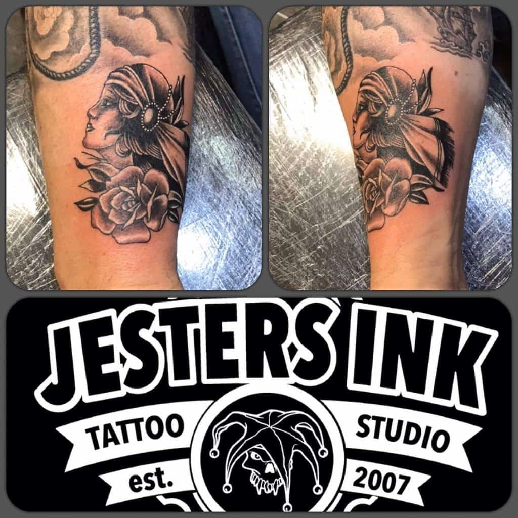 forearm gypsy rose tattoos jestersinktattoostudio