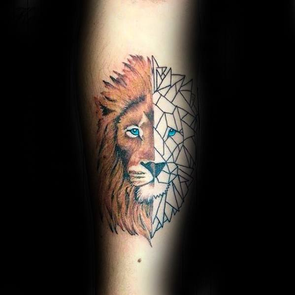 Forearm Half Geometric Lion Tattoos Guys