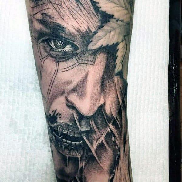 Forearm Half Sleeve Vampire Tattoo On Man
