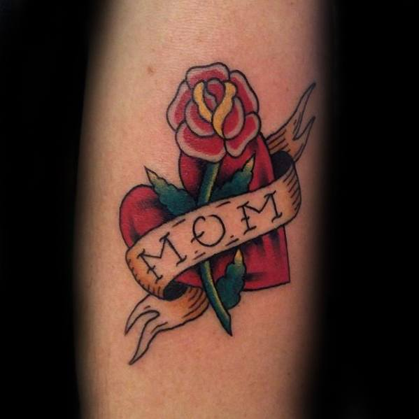 Forearm Heart With Rose Masculine Traditional Mom Tattoos For Men