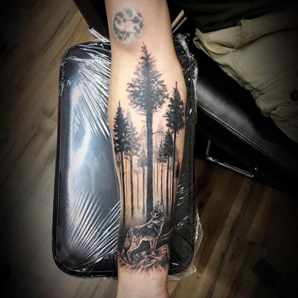 forearm howling wolf tattoo benpowell113