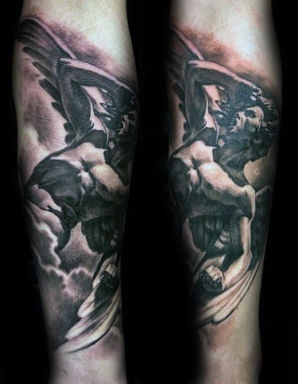 Forearm Icarus Mens Shaded Tattoo Designs